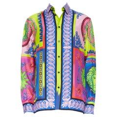 new VERSACE 2018 Runway Pop Foulard 100% silk neon Medusa baroque shirt EU44 4XL
