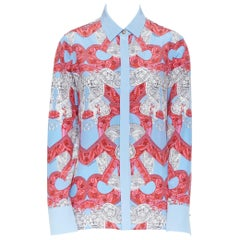 new VERSACE 2018 Runway silk blue pink baroque barocco print Medusa shirt IT38 S