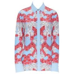 new VERSACE 2018 Runway silk blue pink baroque barocco print Medusa shirt IT40 M
