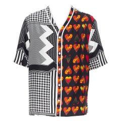 new VERSACE 2019 100% silk Double Love Heart geometric baseball shirt EU39 M