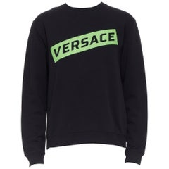 new VERSACE 2019 black cotton green box logo graphic crewneck pullover sweats XL