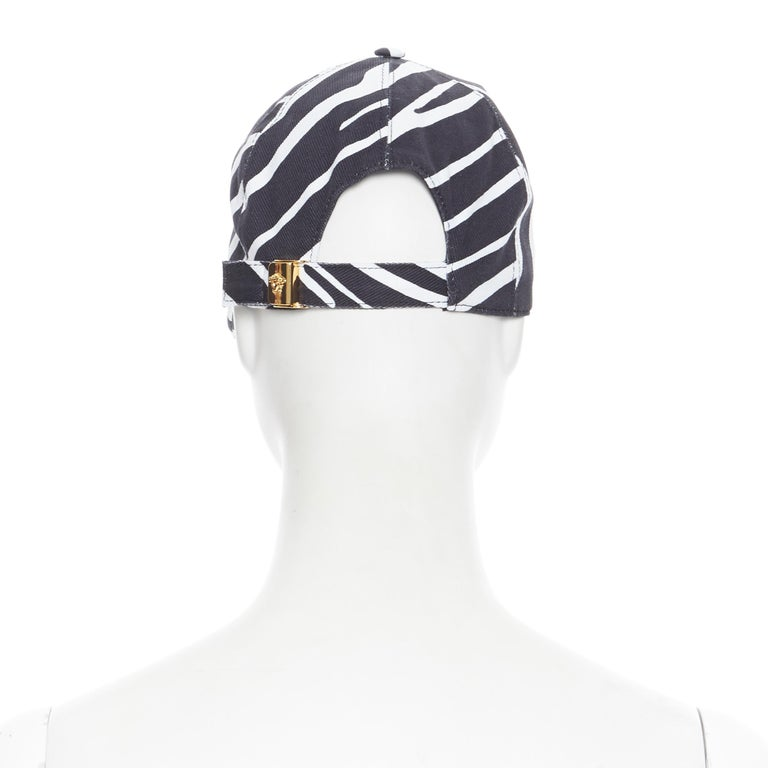 Women's new VERSACE 2019 black white zebra srtipe cotton gold Medusa buckle cap hat 57 For Sale
