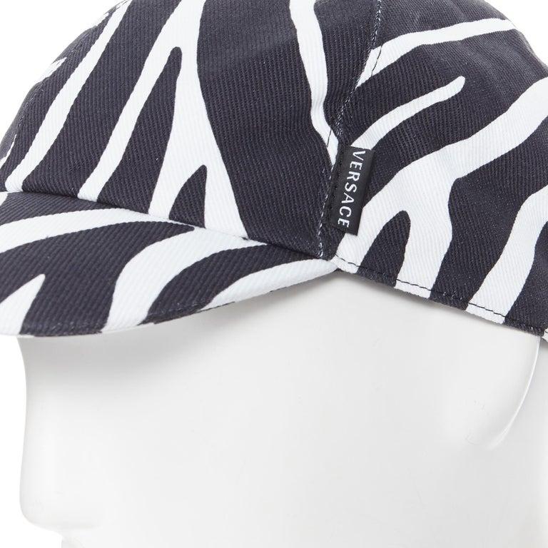 new VERSACE 2019 black white zebra srtipe cotton gold Medusa buckle cap hat 57 For Sale 1