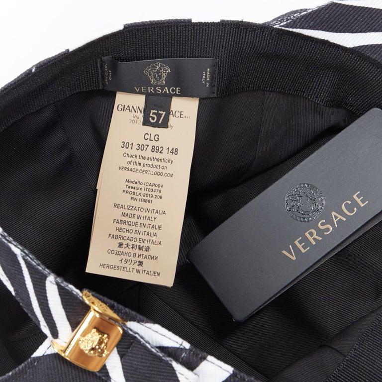 new VERSACE 2019 black white zebra srtipe cotton gold Medusa buckle cap hat 57 For Sale 2