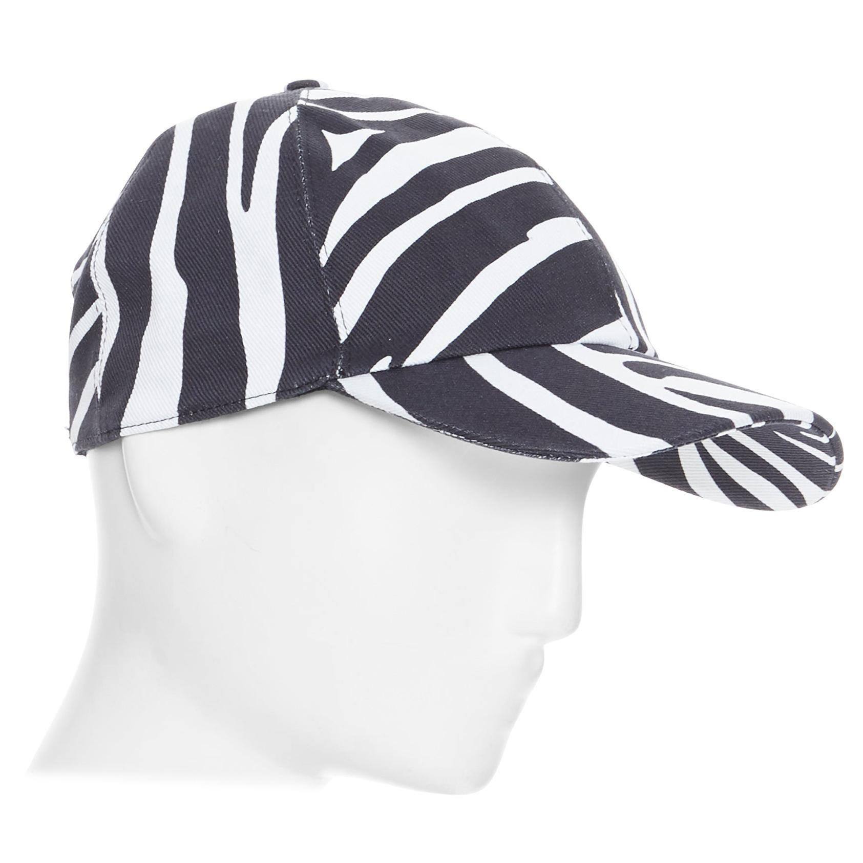 new VERSACE 2019 black white zebra srtipe cotton gold Medusa buckle cap hat 57