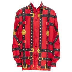 new VERSACE 2019 Runway 100% silk red black gold Medusa harness shirt EU41 XL