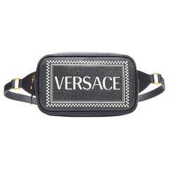 new VERSACE 2019 Runway 90's logo print black saffiano leather waist belt bag