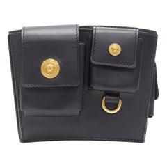 new VERSACE 2019 Runway black gold Medusa button multipocket arm harness bag