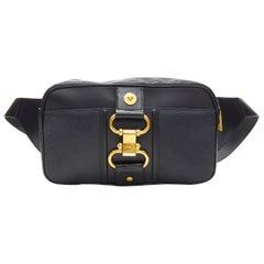 new VERSACE 2019 Runway black leather clasp buckle Medusa crossbody belt bag