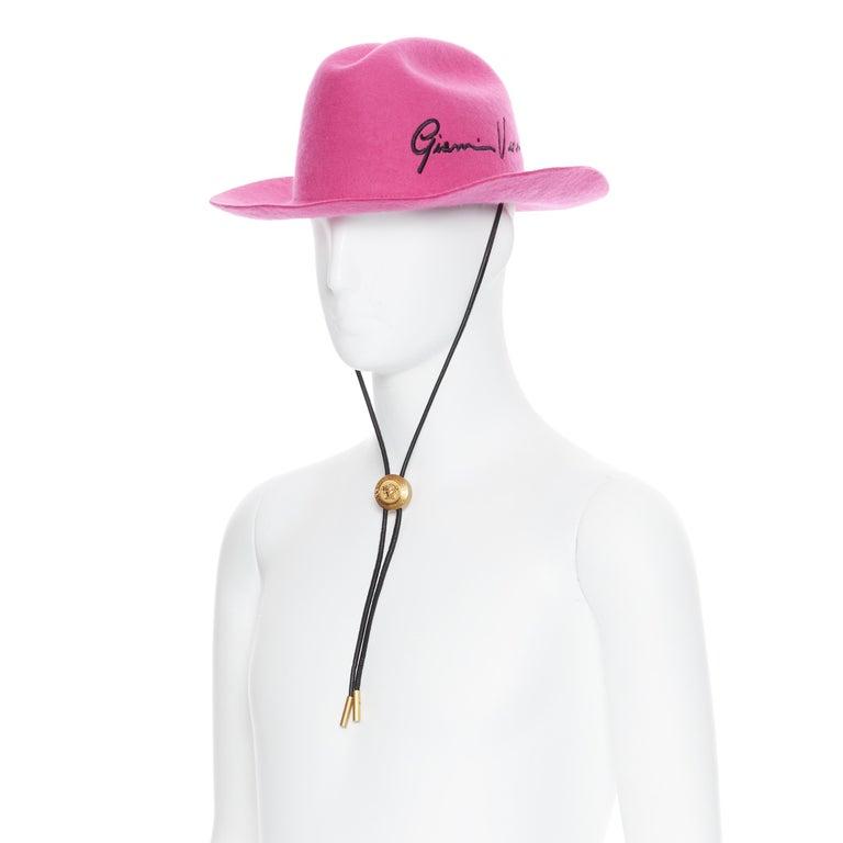 Men's new VERSACE 2020 Runway Gianni GV Signature pink wool Medusa cowboy hat EU58 For Sale