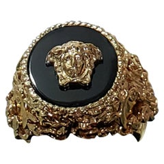 NEW VERSACE 24K GOLD PLATED MEDUSA RING with BLACK size 9.5