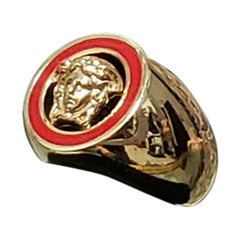 NEW VERSACE 24K GOLD PLATED MEDUSA RING with RED size 8.5