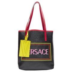new VERSACE 90's logo print black saffiano leather yellow V tag small tote bag