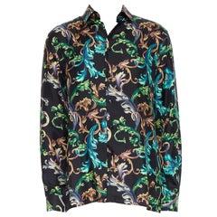new VERSACE  Acid Baroque 100% silk  black green blue floral shirt EU40 L