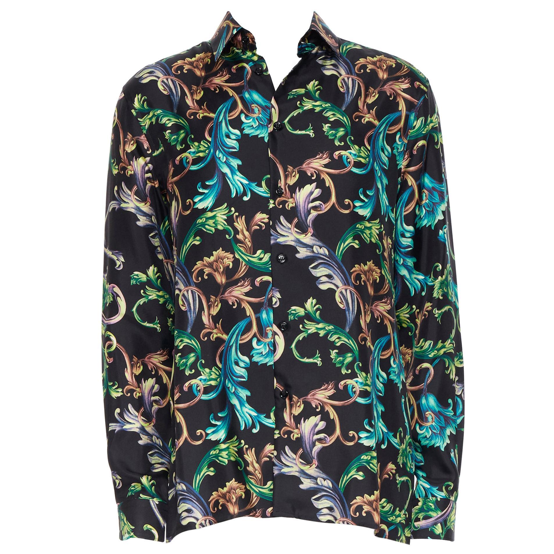 new VERSACE  Acid Baroque black green blue floral 100% silk shirt EU38 S