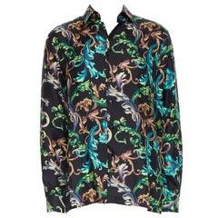 new VERSACE  Acid Baroque black green blue floral 100% silk shirt EU40 L