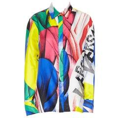 new VERSACE AW18 100% silk Boccioni art colorblocked print Medusa shirt IT38 XS