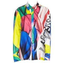 new VERSACE AW18 100% silk Boccioni art colorblocked print Medusa shirt IT42 M