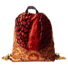 new VERSACE AW18 Pillow Talk red leopard spot gold baroque print velvet backpack