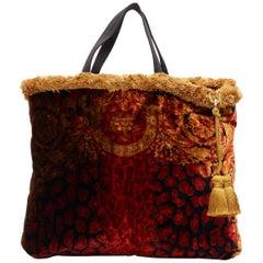 new VERSACE AW18 Pillow Talk red leopard velvet fringe trimmed large tote bag