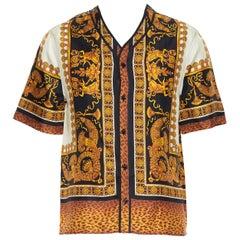 new VERSACE AW18 Runway 100% silk Wild Leopard baroque black gold shirt M EU39