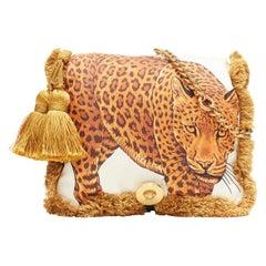 new VERSACE AW18 Runway Pillow Talk Wild Leopard print silk tassel shoulder bag
