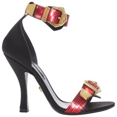 new VERSACE AW18 Runway red strass crystal gold buckle strappy sandal EU37