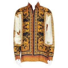 new VERSACE AW18 Runway Wild Leopard black gold baroque 100% silk shirt L EU40