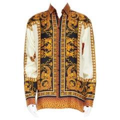 new VERSACE AW18 Runway Wild Leopard black gold baroque 100% silk shirt XL EU41