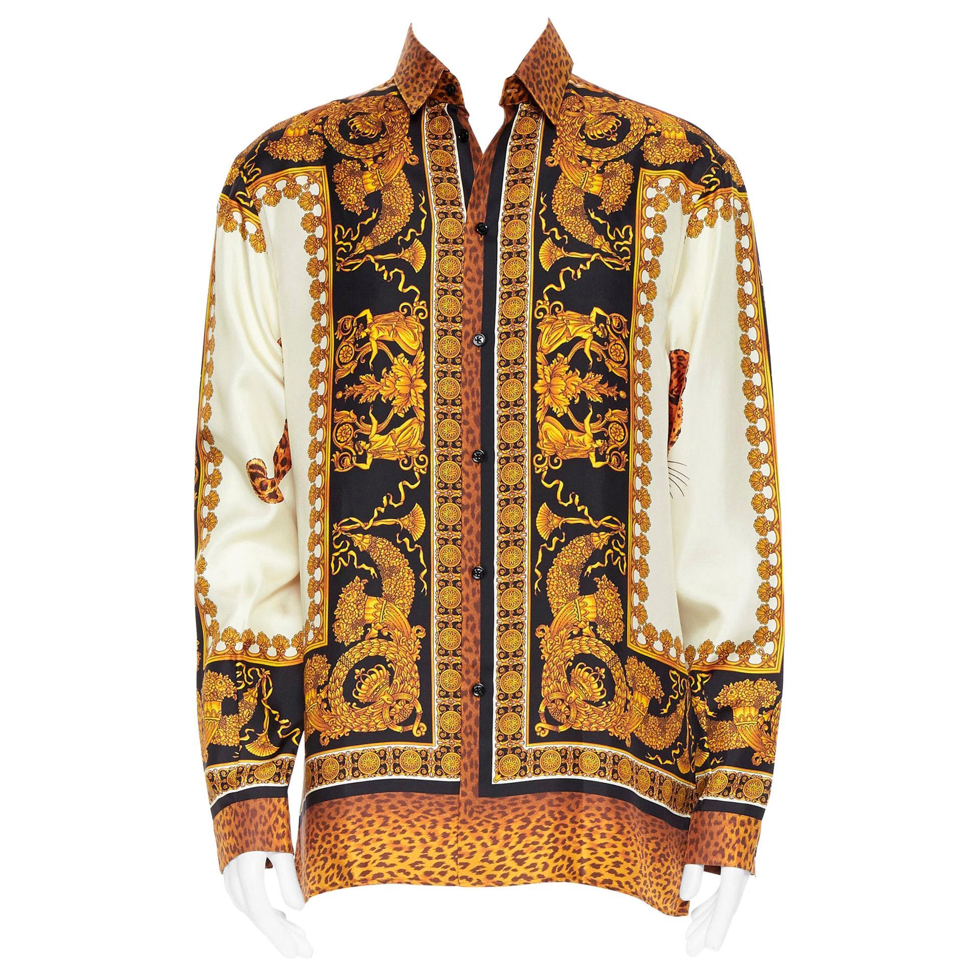 new VERSACE AW18 Runway Wild Leopard black gold baroque 100% silk shirt XXL EU42