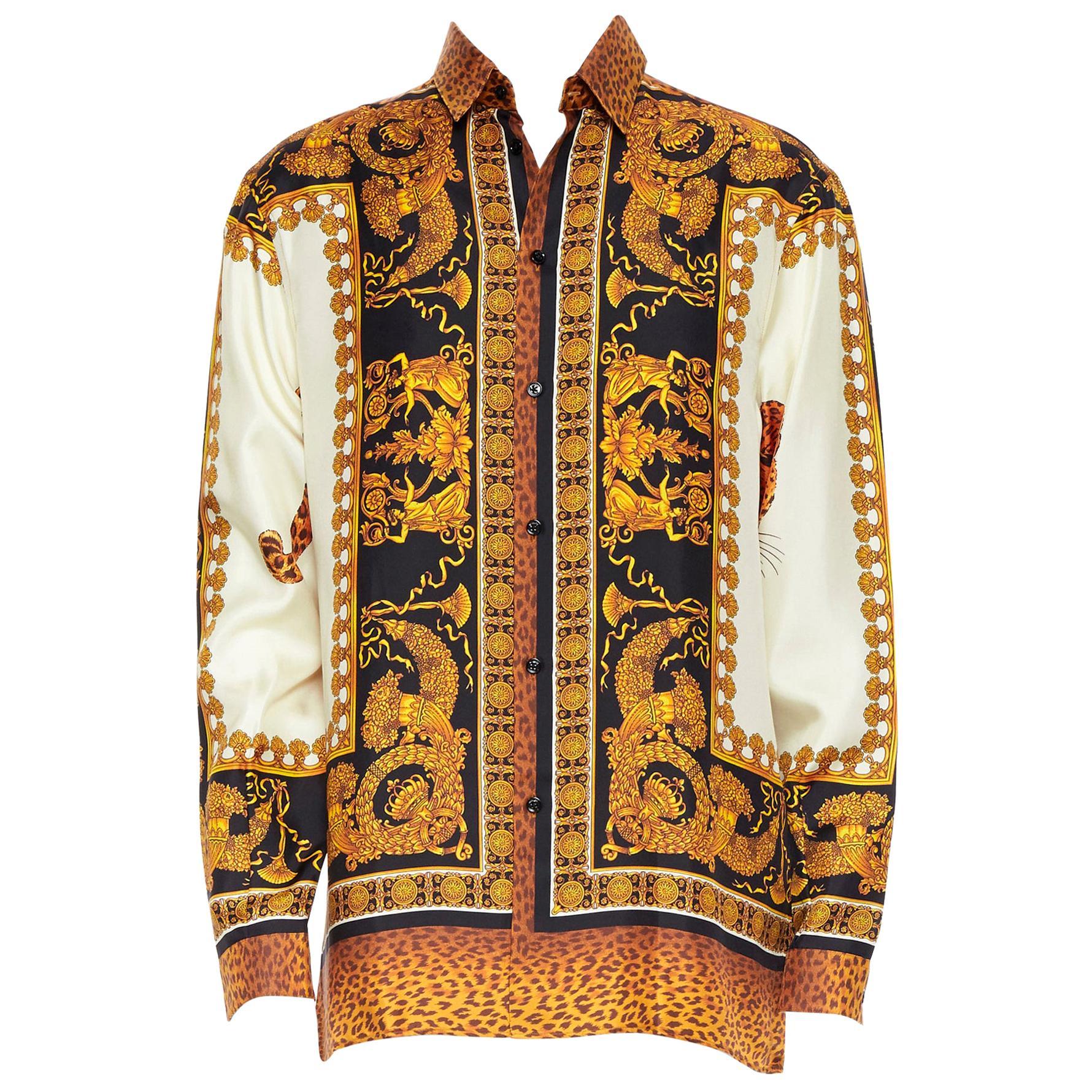 new VERSACE AW18 Runway Wild Leopard gold baroque print 100% silk shirt EU38 S