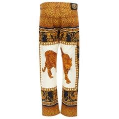 "new VERSACE AW18 Runway Wild Leopard vintage baroque print jeans pants 31"""
