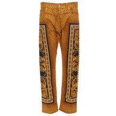 "new VERSACE AW18 Runway Wild Leopard vintage baroque print jeans pants 34"""