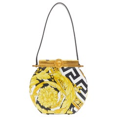 new VERSACE AW19 runway Savage Baroque Conglobo black gold structured clutch bag