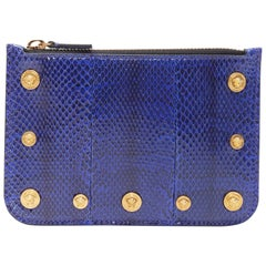 new VERSACE Ayers scaled leather gold Medusa stud bordered top zip pouch case