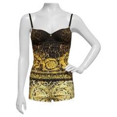 New Versace Barocco Animalier Shorts & Cami Top Ensemble