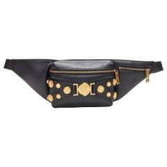 new VERSACE black calf leather gold Medusa coin stud bondage strap waist bag