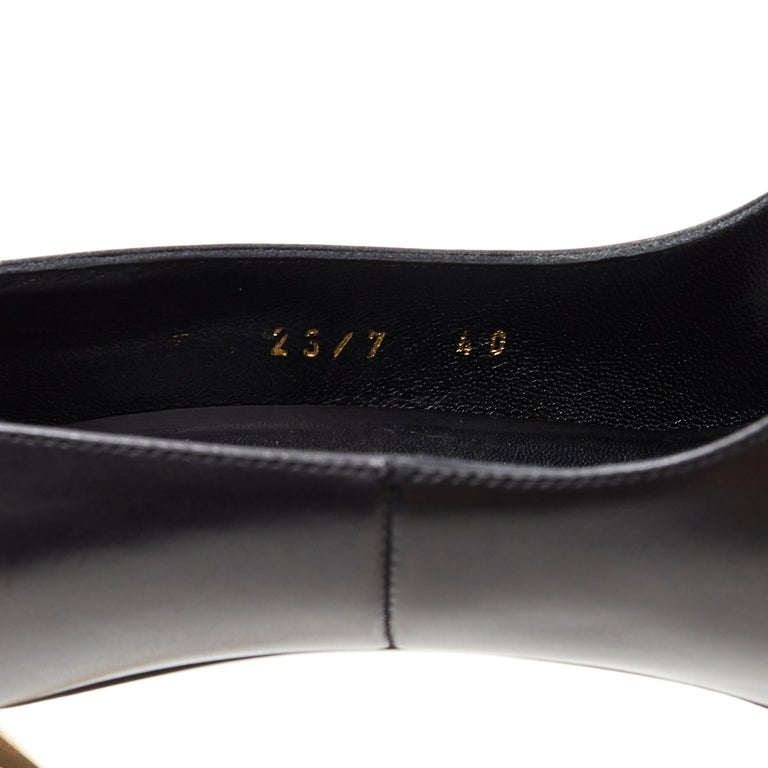 new VERSACE black calf leather gold Medusa metal heel pointy pigalle pump EU40 For Sale 6