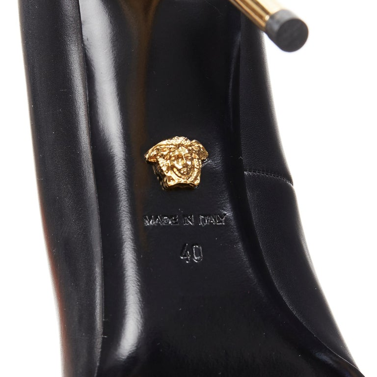new VERSACE black calf leather gold Medusa metal heel pointy pigalle pump EU40 For Sale 7