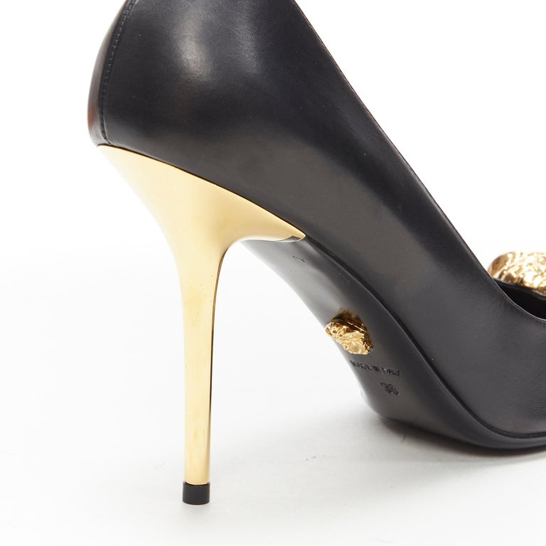 new VERSACE black calf leather gold Medusa metal heel pointy pigalle pump EU40 For Sale 4