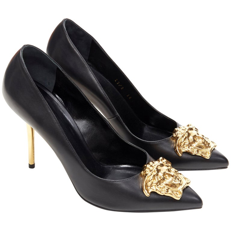 new VERSACE black calf leather gold Medusa metal heel pointy pigalle pump EU40 For Sale