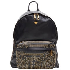 new VERSACE black calf leather gold tone baroque stud Medusa top  zip backpack