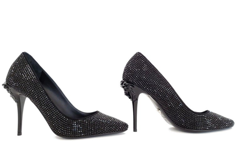 bd199019b834 New VERSACE Black Crystal Palazzo Pumps Shoes 37 - 7 For Sale at 1stdibs