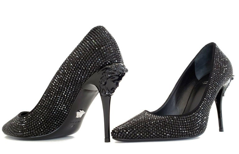 New VERSACE Black Crystal Palazzo Pumps Shoes 37 - 7 For Sale 1