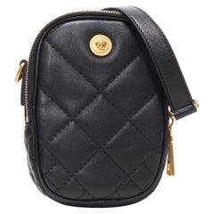 new VERSACE black diamond quilted lamb leather medusa small crossbody belt bag