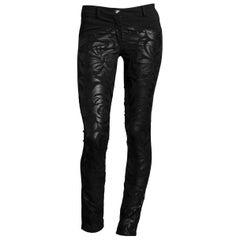 New VERSACE Black Floral Leather Applique Slim Pants