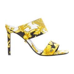 new VERSACE black gold Barocco Hibiscus print fabric open toe mule sandals EU38