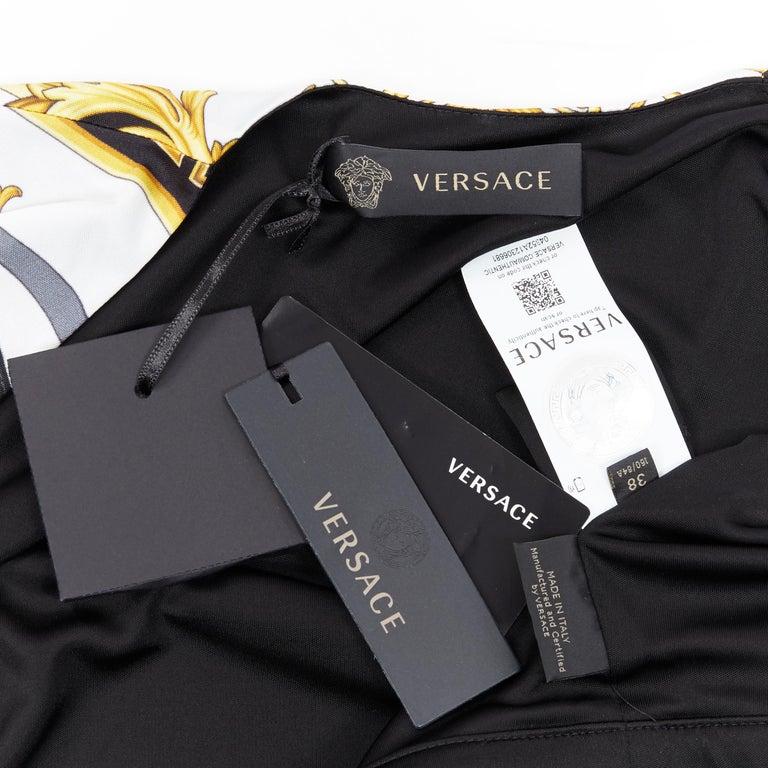 new VERSACE black gold baroque bondage strap virtus print wrap dress IT38 For Sale 5