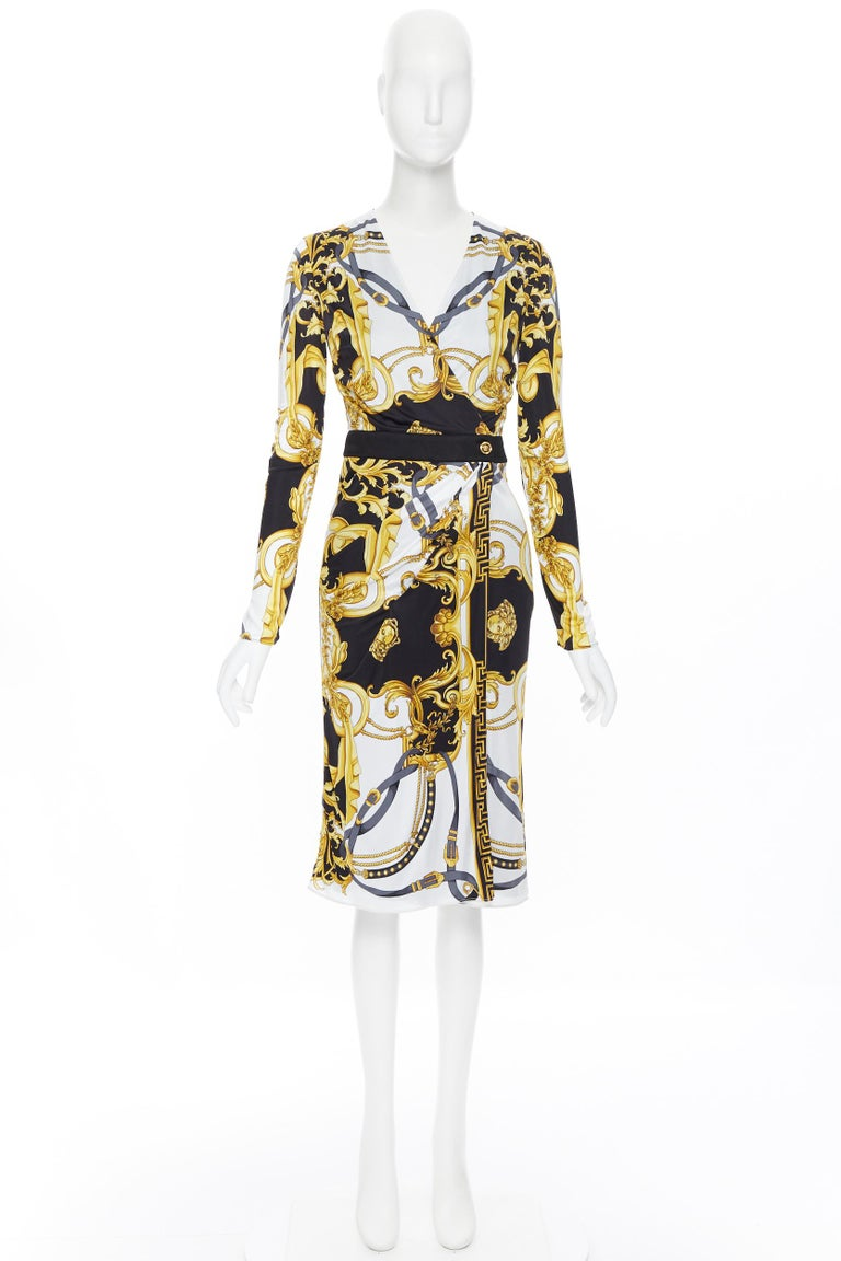 Beige new VERSACE black gold baroque bondage strap virtus print wrap dress IT38 For Sale