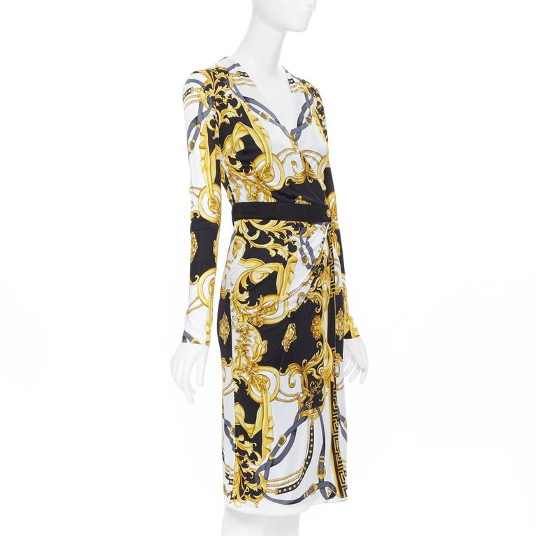 new VERSACE black gold baroque bondage strap virtus print wrap dress IT38 In New Condition For Sale In Hong Kong, NT